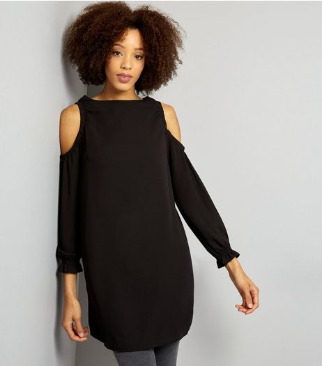 Black Cold Shoulder Long Sleeve Tunic Dress | New Look