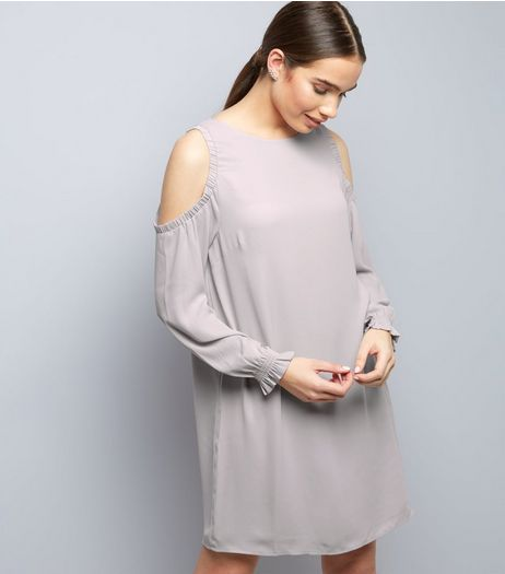 Lilac Cold Shoulder Long Sleeve Tunic Dress | New Look