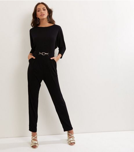 Mela Black Belted 3/4 Sleeve Jumpsuit  | New Look