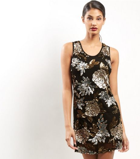 Mela Black Sequin Floral Print Dress | New Look