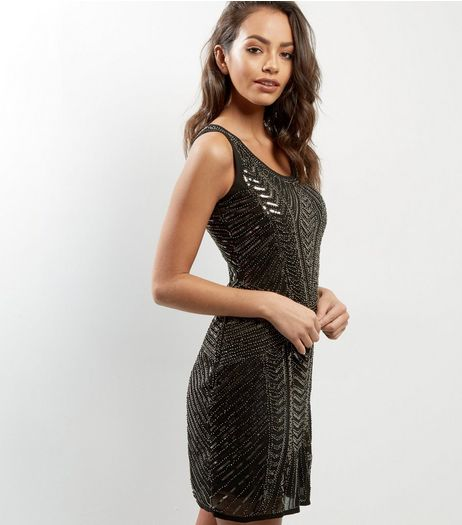 Mela Black Sequin Sleeveless Dress | New Look