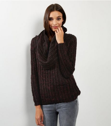 Blue Vanilla Burgundy Cowl Neck Jumper  | New Look