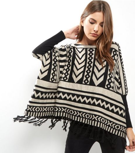 Blue Vanilla Cream Abstract Print Tassel Hem Poncho  | New Look