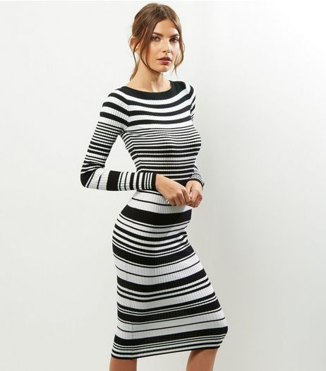 Blue Vanilla Black Stripe Ribbed Maxi Dress | New Look