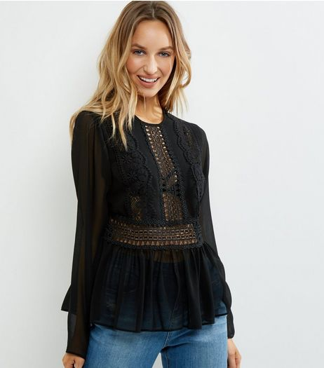 Black Lace Peplum Top | New Look
