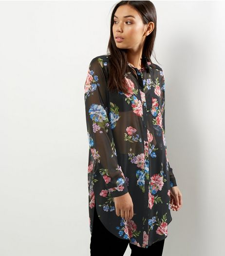 Black Chiffon Floral Print Longline Shirt  | New Look