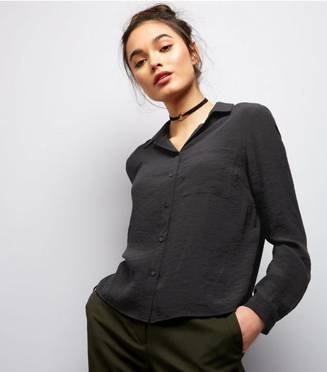 Black Double Pocket Front Cropped Shirt  | New Look