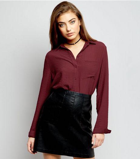 Burgundy Double Pocket Front Cropped Shirt  | New Look