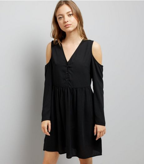 Black Cold Shoulder Smock Dress   | New Look