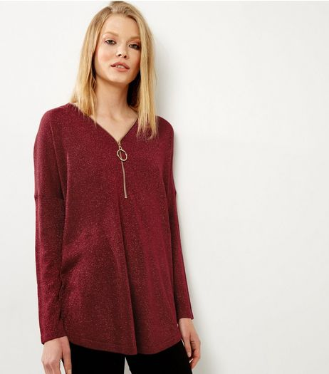 Blue Vanilla Burgundy Glitter Zip Front Jumper | New Look