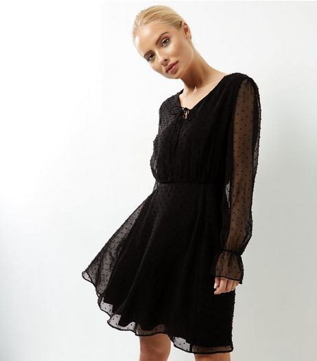 Black Chiffon Tie Front Skater Dress | New Look
