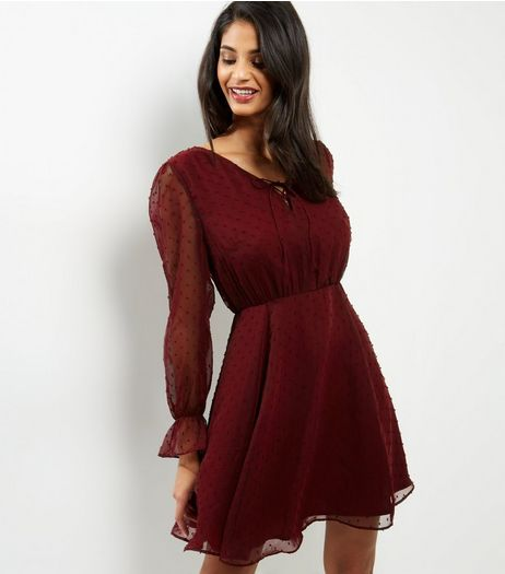 Burgundy Lattice Front Bell Sleeve Skater Dress | New Look