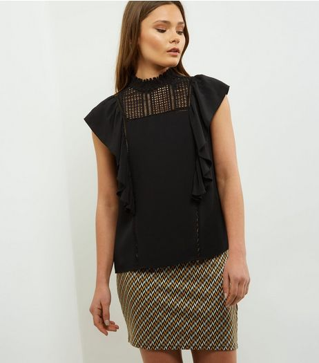 Black Yoke Crochet Panel Frill Trim Sleeveless Top  | New Look