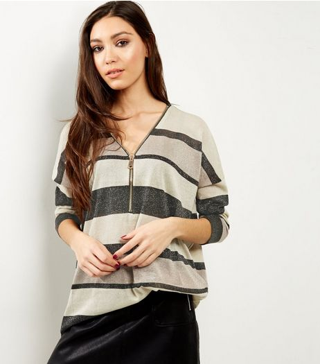 Blue Vanilla Black Stripe Zip Front Jumper  | New Look