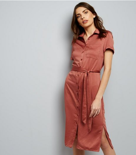 Mid Pink Sateen Belted Split Side Midi Shirt Dress | New Look