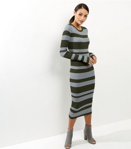 Blue Vanilla Green Ribbed Stripe Midi Dress | New Look