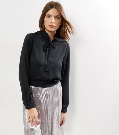 Black Funnel Frill Trim Neck Shirt | New Look