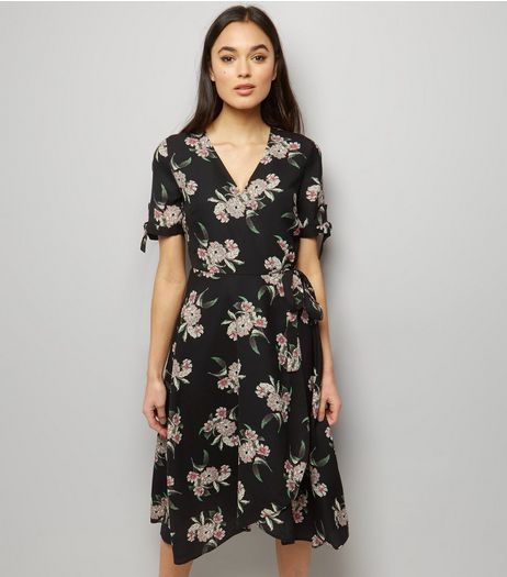 Black Floral Print Wrap Front Dress  | New Look