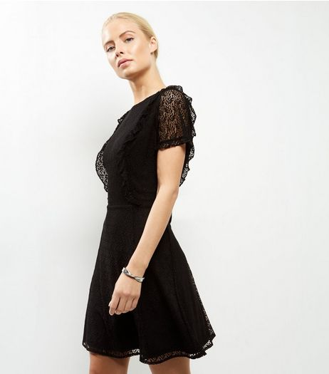 Black Lace Frill Trim Sheer Sleeve Skater Dress | New Look