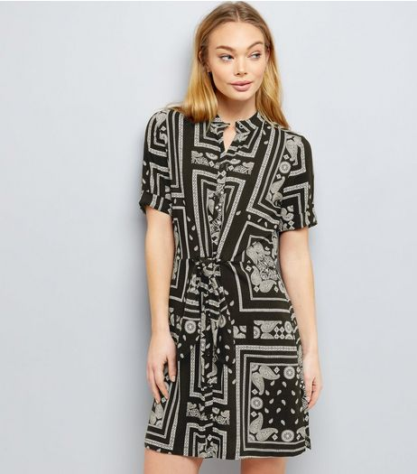 Black Paisley Print Tie Waist Shirt Dress  | New Look