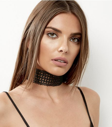 Black Diamond Lace Choker | New Look