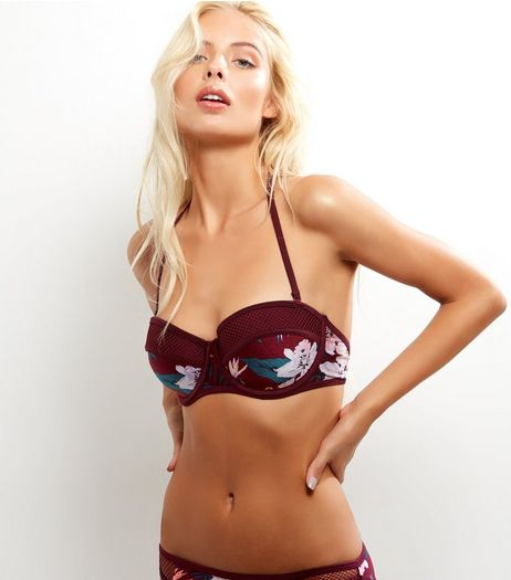 Burgundy Tropical Print Bikini Top | New Look