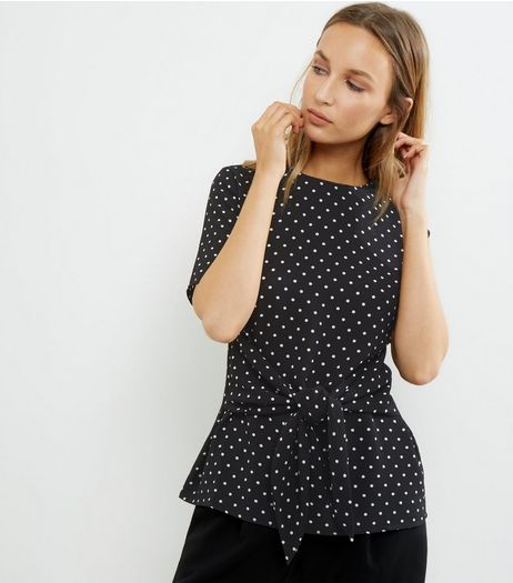 Black Spot Print Tie Waist Short Sleeve Top | New Look