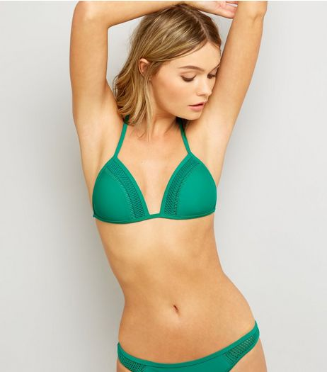 Green Crochet Trim Bikini Top | New Look
