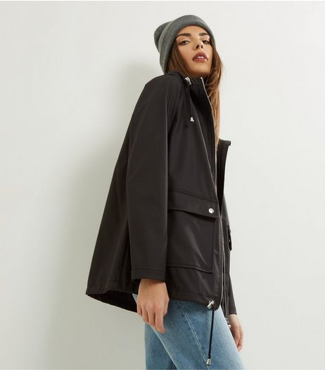 Black Matte Rain Coat | New Look