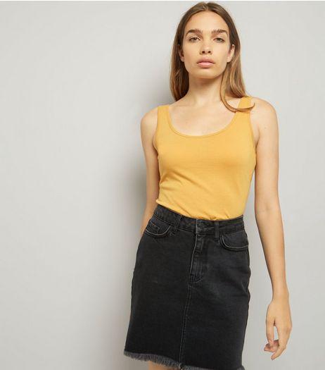 Dark Yellow Scoop Neck Vest | New Look