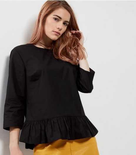 Black 3/4 Sleeve Peplum Top | New Look