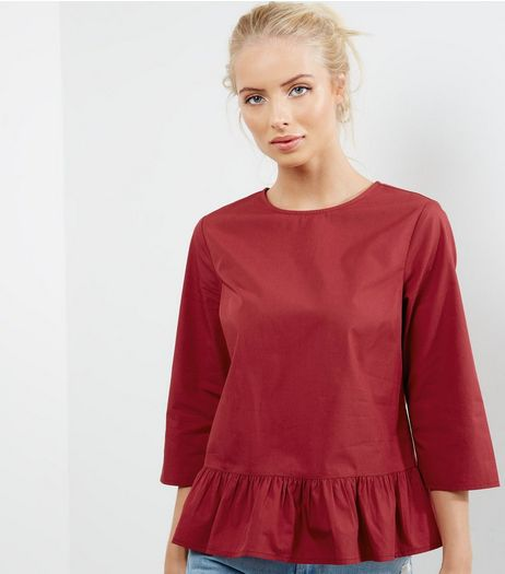 Red 3/4 Sleeve Peplum Top | New Look