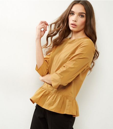 Yellow 3/4 Sleeve Peplum Top | New Look