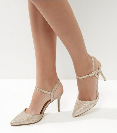 Gold Glitter Pointed Ankle Strap Heels | New Look