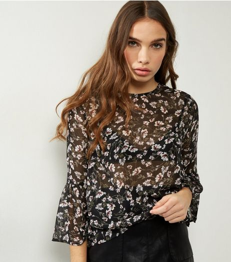 Black Floral Print Frill Flare Sleeve Top  | New Look