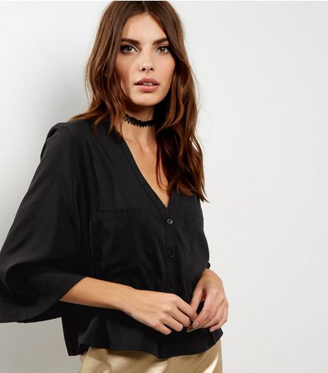 Black Bell Sleeve V Neck Shirt  | New Look