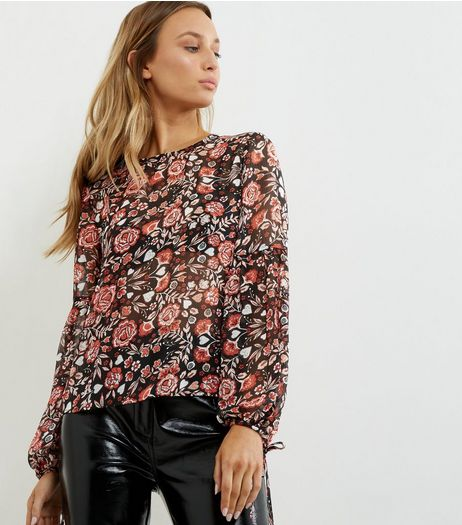 Black Floral Print Chiffon Tie Sleeve Top  | New Look