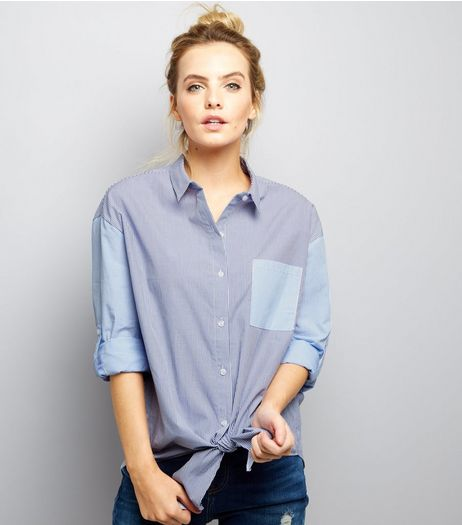 Petite Blue Pocket Front Tie Sleeve Shirt | New Look