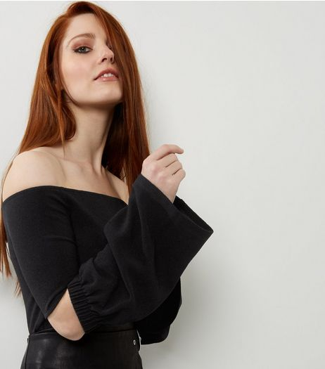 Black Cut Out Bell Sleeve Bardot Neck Top  | New Look