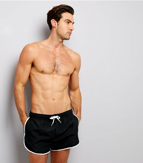 Black Contrast Trim Swim Shorts | New Look