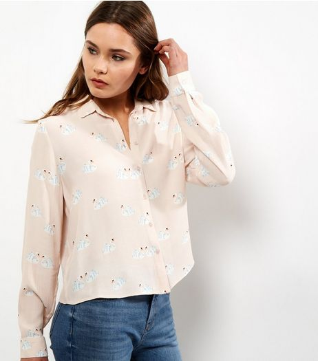 Pink Swan Print Cropped Shirt | New Look