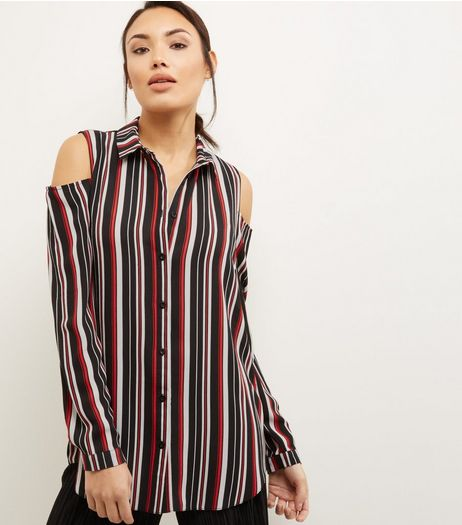 Red Stripe Cold Shoulder Crepe Shirt  | New Look