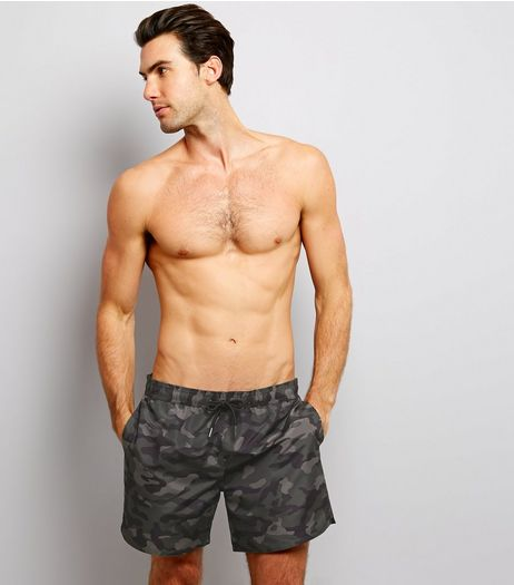 Green Camo Print Swimming Shorts | New Look