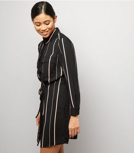 Petite Black Stripe Shirt Dress | New Look