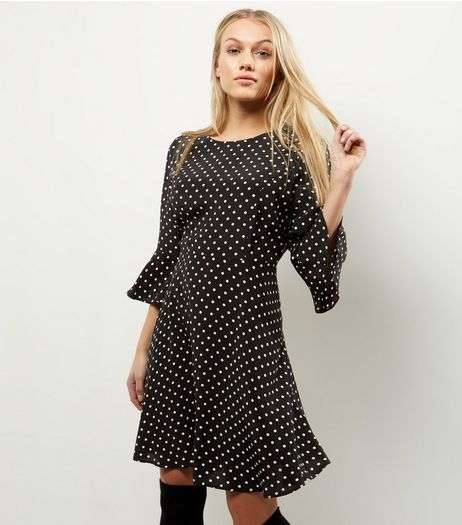 Petite Black Spot Print Bell Sleeve Skater Dress | New Look