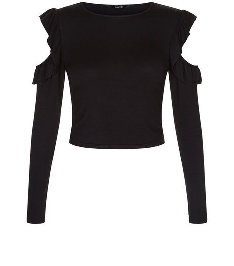 Teens Black Frill Sleeve Cold Shoulder Top | New Look