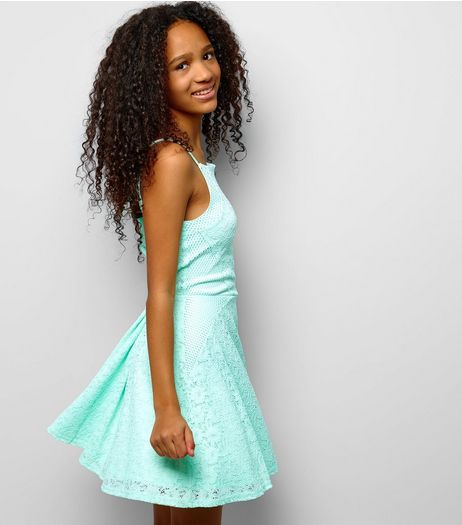 Teens Mint Green Mesh Panel Lace Skater Dress | New Look