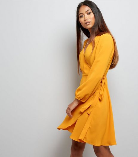 Petite Yellow Long Sleeve Wrap Front Dress | New Look