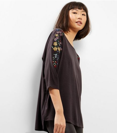 Dark Grey Floral Embroidered Sleeve Cocoon T-Shirt  | New Look