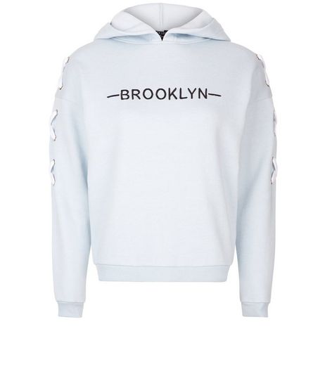 Teens Pale Blue Brooklyn Print Tie Sleeve Hoodie  | New Look